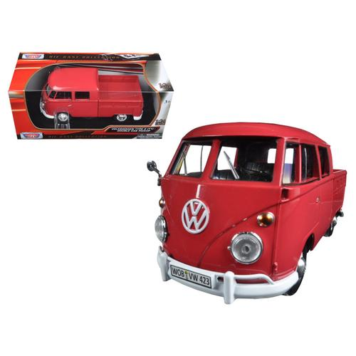 Volkswagen Type 2 (T1) Double Cab Pickup Truck Wax Red 1/24 Diecast Model Car by Motormax F977-79343R