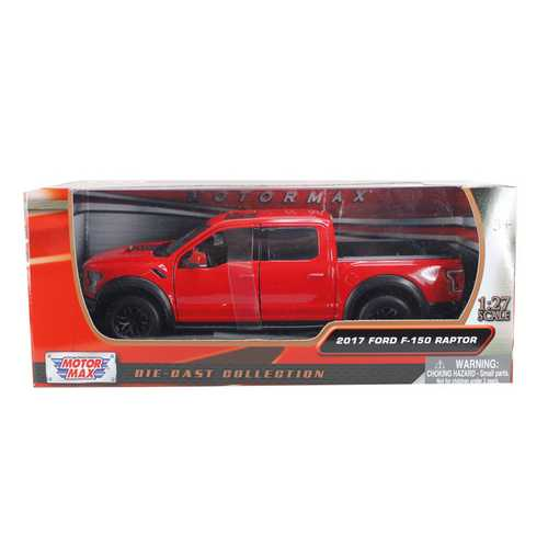 2017 Ford F-150 Raptor Pickup Truck Red with Black Wheels 1/27 Diecast Model Car by Motormax F977-79344r
