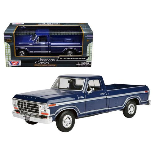 1979 Ford F-150 Pickup Truck Dark Blue 1/24 Diecast Model Car by Motormax F977-79346BL