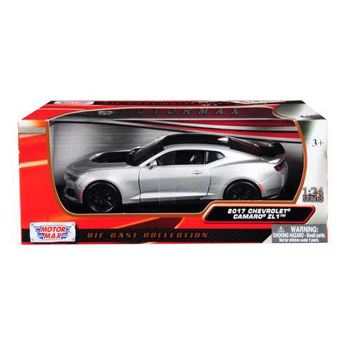 2017 Chevrolet Camaro ZL1 Silver with Black Stripe 1/24 Diecast Model Car by Motormax F977-79351s