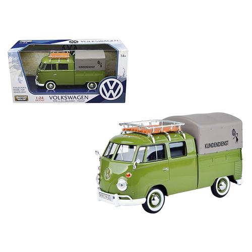 "Volkswagen Type 2 (T1) ""Kundendienst"" Delivery Pickup Truck Green 1/24 Diecast Model Car by Motormax F977-79554GRN"