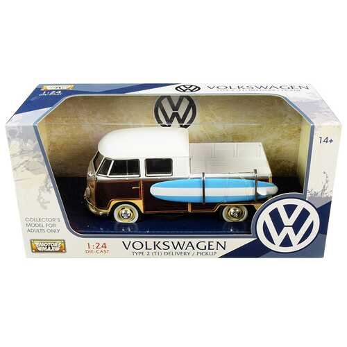 Volkswagen Type 2 (T1) Pickup White and Yellow with Wood Paneling with Surfboard 1/24 Diecast Model F977-79560brn