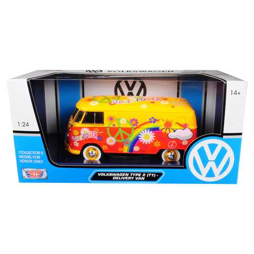 Volkswagen Type 2 (T1) Delivery Van Flower Power 1/24 Diecast Car Model by Motormax F977-79563