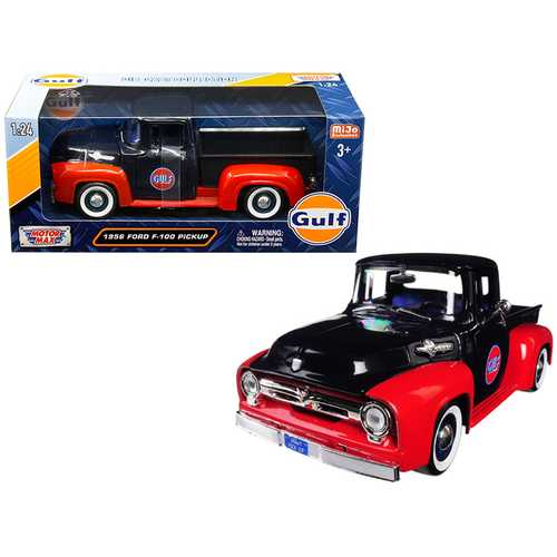"1956 Ford F-100 Pickup Truck ""Gulf"" Dark Blue and Red 1/24 Diecast Model Car by Motormax F977-79647"