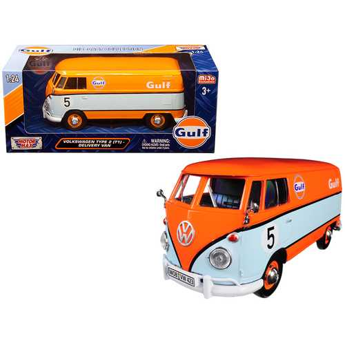"Volkswagen Type 2 (T1) Delivery Van #5 ""Gulf"" Orange and Light Blue 1/24 Diecast Model Car by Motor F977-79649"