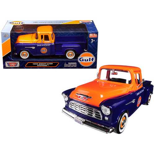 "1955 Chevrolet 5100 Stepside Pickup Truck ""Gulf"" Dark Blue and Orange 1/24 Diecast Model Car by Mot F977-79651"