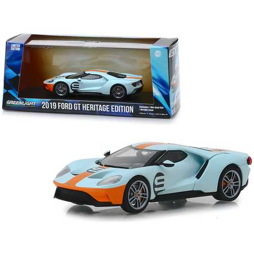 "2019 Ford GT #9 Heritage Edition ""Gulf Oil"" Color Scheme 1/43 Diecast Model Car by Greenlight F977-86159"