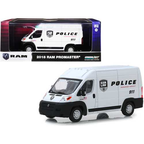 "2018 Dodge Ram ProMaster 2500 Cargo High Roof Van White ""Police Transport Vehicle"" 1/43 Diecast Mod F977-86168"
