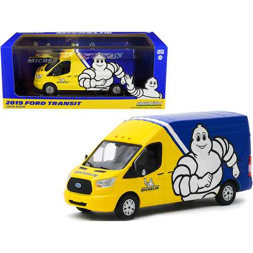 "2019 Ford Transit High Roof Van ""Michelin Tires"" Yellow and Blue 1/43 Diecast Model by Greenlight F977-86175"