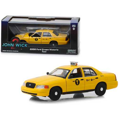 "2008 Ford Crown Victoria ""NYC Taxi"" Yellow ""John Wick: Chapter 2"" (2017) Movie 1/43 Diecast Model C F977-86561"