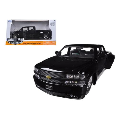 1999 Chevrolet Silverado Dooley Pickup Truck Black 1/24 Diecast Model Car by Jada F977-90145bk
