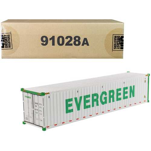 "40' Refrigerated Sea Container ""EverGreen"" White ""Transport Series"" 1/50 Model by Diecast Masters F977-91028A"