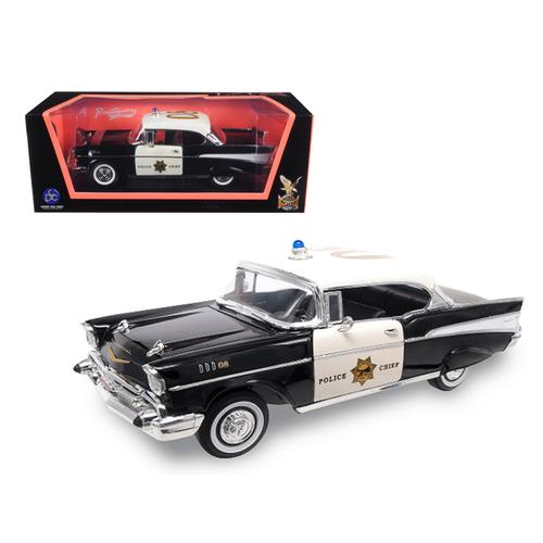 1957 Chevrolet Bel Air Police 1/18 Diecast Model Car by Road Signature F977-92107po