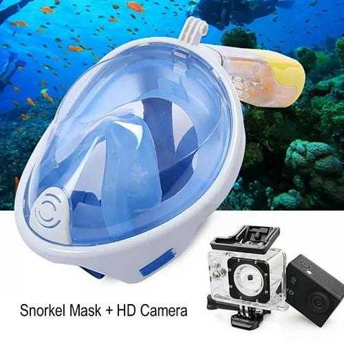 Full Face Snorkel Mask with Optional HD 1080P Action Sports Camera F369-9580343824