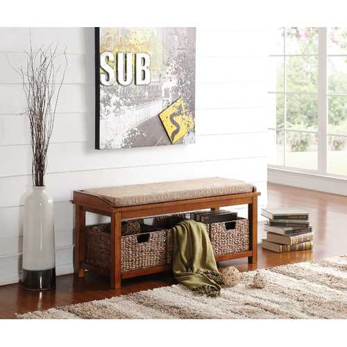 Bench With Storage, Light Brown Microfiber & Walnut N270-285470