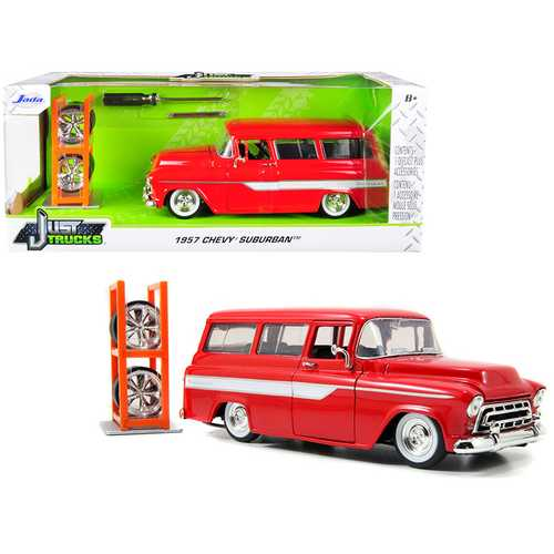 "1957 Chevrolet Suburban Red with White Stripes and Extra Wheels ""Just Trucks"" Series 1/24 Diecast M F977-96986"