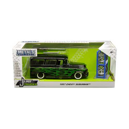"1957 Chevrolet Suburban Black with Green Flames and Extra Wheels ""Just Trucks"" Series 1/24 Diecast  F977-97821"