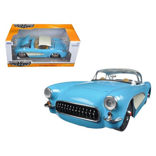 1957 Chevrolet Corvette Sky Blue with Cream Top and Side 1/24 Diecast Model Car by Jada F977-98162
