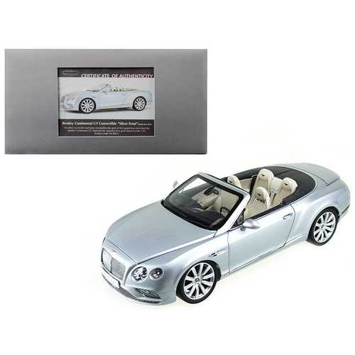 2016 Bentley Continental GT Convertible LHD Silver Frost 1/18 Diecast Model Car by Paragon F977-98231