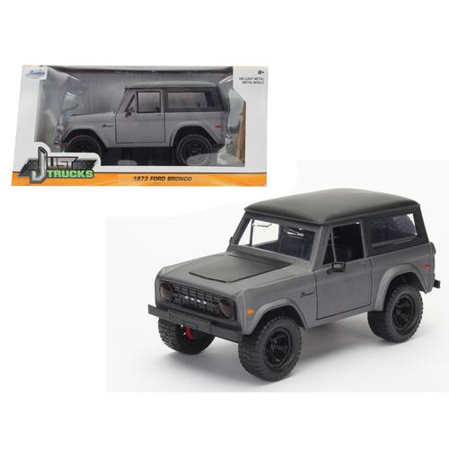 "1973 Ford Bronco Matt Gray with Black Top ""Just Trucks"" 1/24 Diecast Model Car by Jada F977-98279"