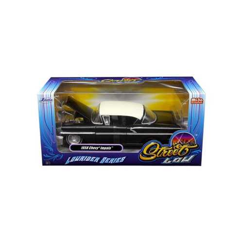 "1958 Chevrolet Impala Black ""Lowrider Series"" Street Low 1/24 Diecast Model Car by Jada F977-98919"