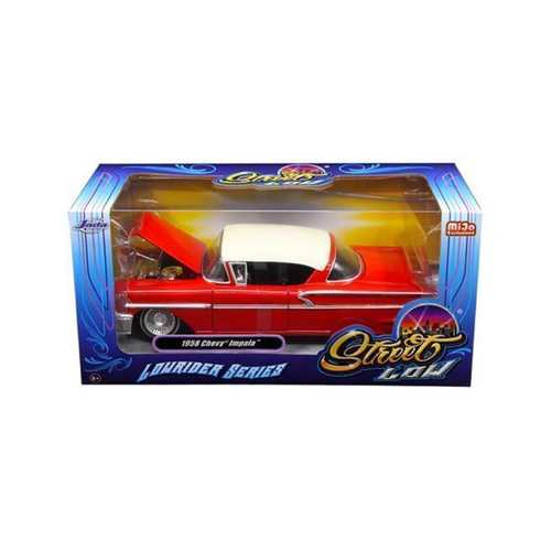 "1958 Chevrolet Impala Red ""Lowrider Series"" Street Low 1/24 Diecast Model Car by Jada F977-98920"