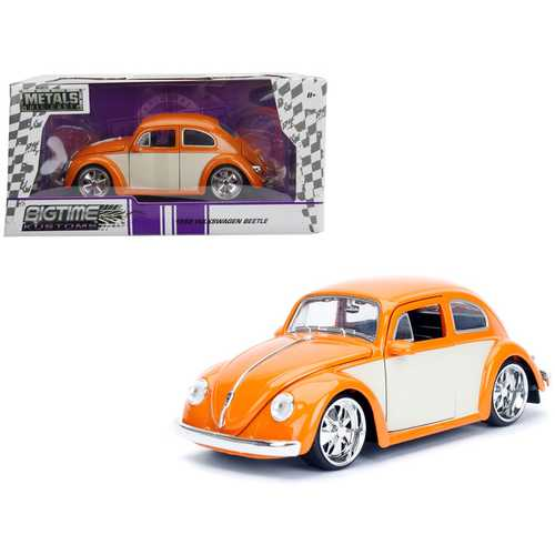 "1959 Volkswagen Beetle Orange and Cream ""Bigtime Kustoms"" 1/24 Diecast Model Car by Jada F977-99019"