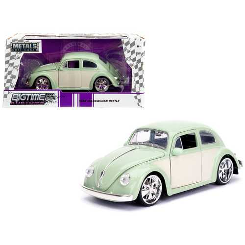 "1959 Volkswagen Beetle Light Green and Cream ""Bigtime Kustoms"" 1/24 Diecast Model Car by Jada F977-99020"