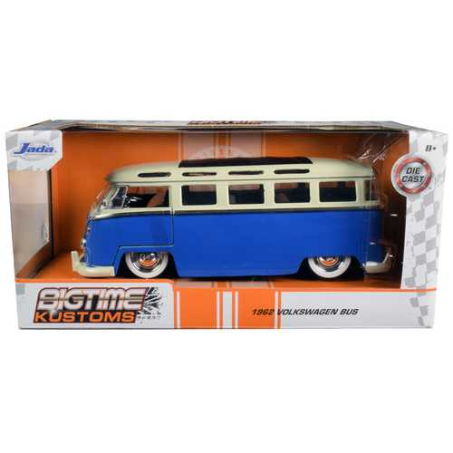 "1962 Volkswagen Bus Blue and Cream ""Bigtime Kustoms"" 1/24 Diecast Model by Jada F977-99056"