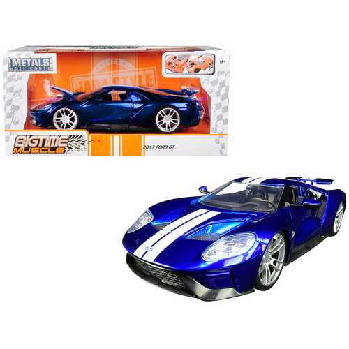 "2017 Ford GT Candy Blue with White Stripes ""Bigtime Muscle"" 1/24 Diecast Model Car by Jada F977-99390"
