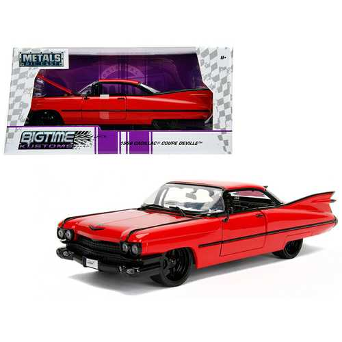 1959 Cadillac Coupe DeVille Red 1/24 Diecast Model Car by Jada F977-99990