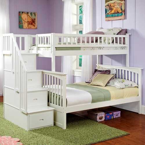 Twin over Full Bunk Bed with Stairway Storage Drawers in White Wood Finish Q280-AFCT651891