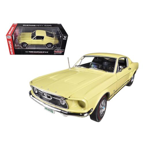 1967 Ford Mustang 2+2 GT Aspen Gold Limited to 1250pc 50th Anniversary 1/18 Diecast Car Model by Au F977-AMM1038