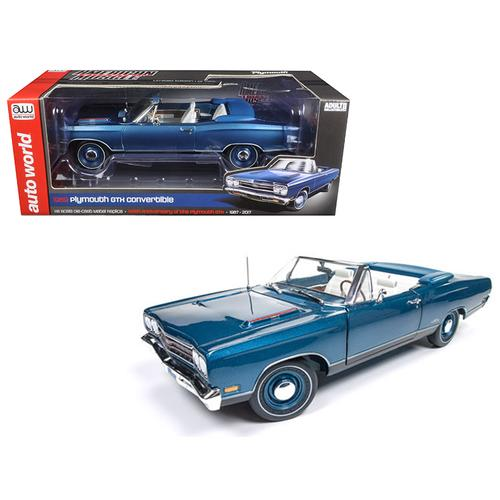 1969 Plymouth GTX Convertible Jamaican Blue Poly Limited Edition to 1002pcs 1/18 Diecast Model Car  F977-AMM1102