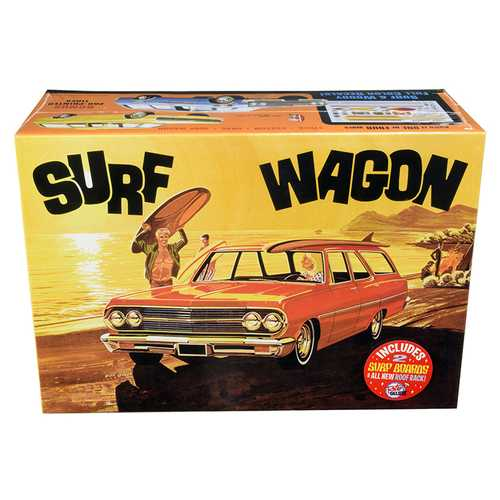 "Skill 2 Model Kit 1965 Chevrolet Chevelle ""Surf Wagon"" with Two Surf Boards 4 in 1 Kit 1/25 Scale M F977-AMT1131"