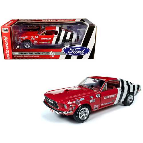 "1968 Ford Mustang Cobra Jet Super Stock ""Sandy Elliot Performance Centre"" 1/18 Diecast Model Car by F977-AW259"