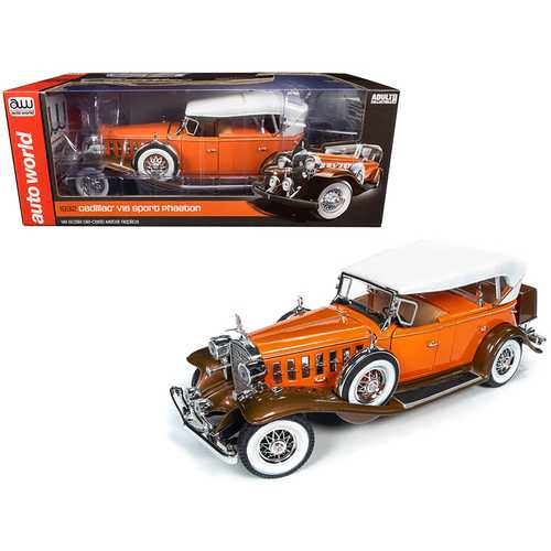 1932 Cadillac V16 Sports Phaeton Convertible Orange with White Top 1/18 Diecast Model Car by Autoworld
