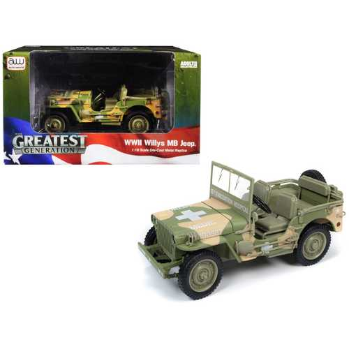 "1941 Willys MB Jeep WWII Army ""Medic"" (15th Evacuation Hospital) Camouflage 1/18 Diecast Model Car  F977-AWML005A"