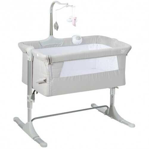 Height Adjustable Baby Side Crib  with Music Box & Toys-Light Gray B593-BB5568