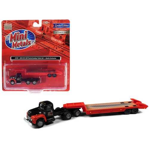 "1954 IH R-190 Tractor Truck with Lowboy Trailer ""Bonito Contractor"" Black and Red 1/87 (HO) Scale M F977-CMW31193"