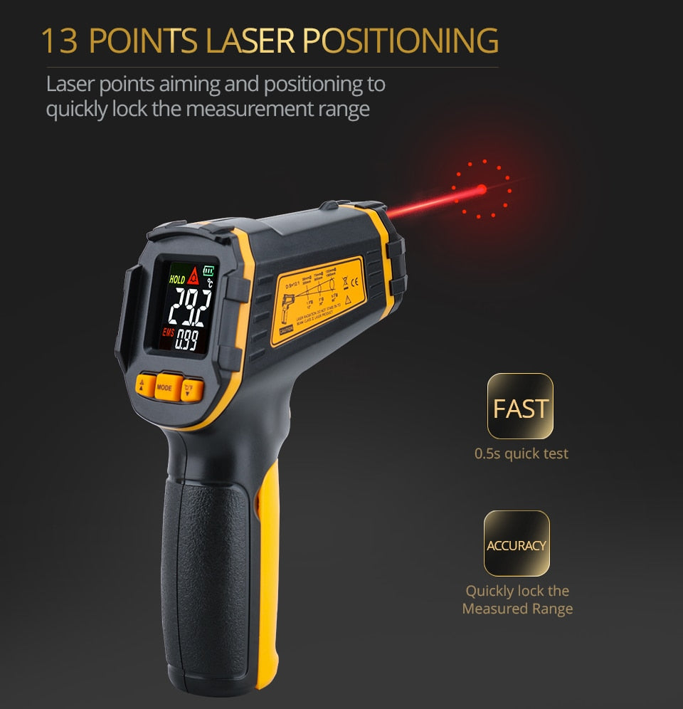 Digital Infrared Thermometer Laser Temperature Meter Non-contact Pyrometer Imager Hygrometer IR thermometer Color LCD Light Alarm