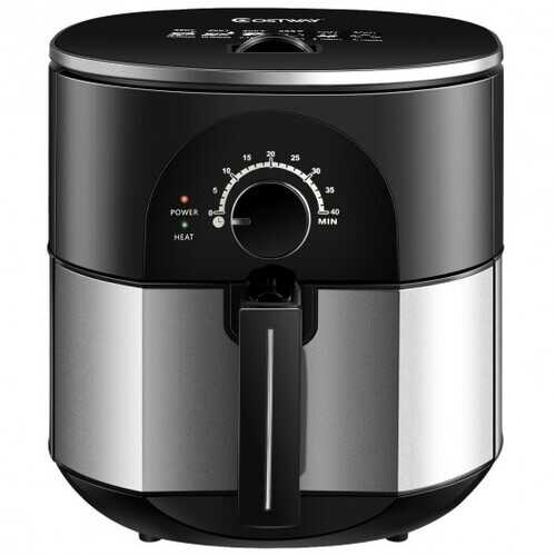 3.5QT 1300W Electric Stainless Steel Air Fryer Oven Oilless Cooker B593-EP23972