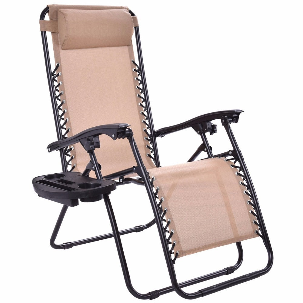 Guplus Folding Zero Gravity Chair Outdoor Picnic Camping Sunbath Beach Chair with Utility Tray Reclining Lounge Chairs