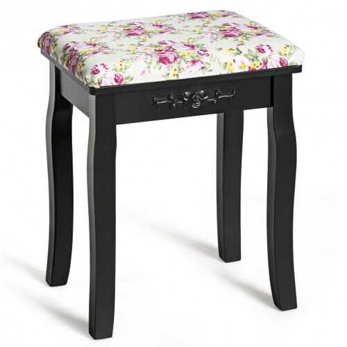Vanity Wood Dressing Stool Padded Piano Seat with Rose Cushion-Black B593-HW53876color