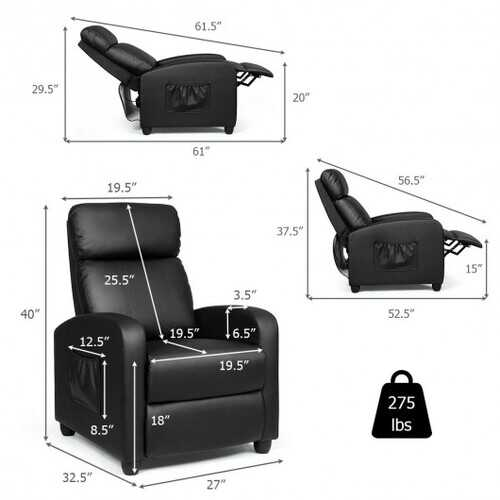 PU Leather Massage Recliner Chair with Footrest-Black B593-HW64114