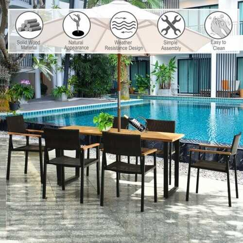 7 Pcs Outdoor Patio Rattan Dining Chair Table Set B593-HW65219+