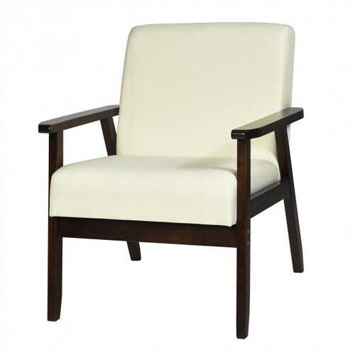Solid Rubber Wood Fabric Accent Armchair-Beige B593-HW65639