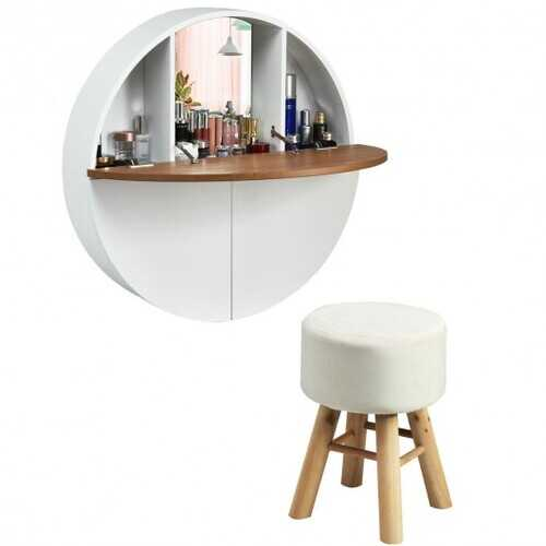 Wall Mounted Round Vanity Dressing Set with Cushioned Stool-White B593-HW65677AB+