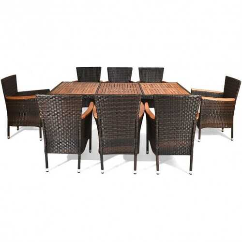 9 pcs Patio Rattan Dining Set 8 Chairs Cushioned Acacia Table Top B593-HW65880+