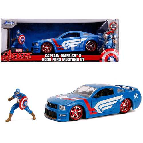 "2006 Ford Mustang GT with Captain America Diecast Figurine ""Avengers"" ""Marvel"" Series 1/24 Diecast  F977-JA31187"